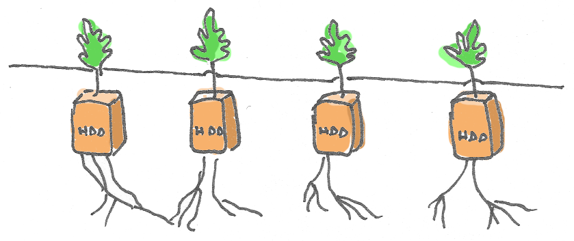 Four hard drives illustrated as carrots growing underground with roots into the soil and green tops popping above the ground